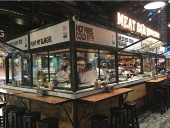 The Meat Bar Burger at Sarona Market. The burgers here were perfectly grilled to just the right level of doneness.