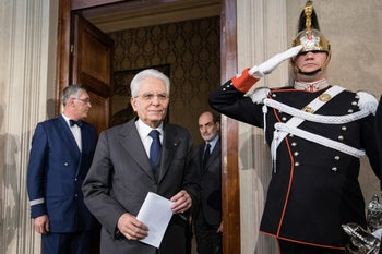 Sergio Mattarella, Italy's president, arrives to speak at a news conference following meetings with political parties at the Quirinale Palace in Rome, Italy, on Friday, April 13, 2018.