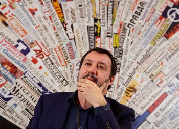 The League leader Matteo Salvini talks during a press conference at the foreign press association headquarters, Wednesday, March 14, 2018.