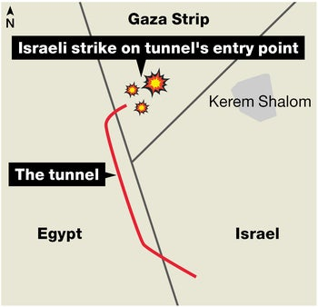 Map showing location of tunnel destroyed on May 29, 2018.