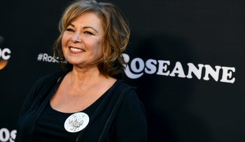 "Roseanne Barr arriving at the Los Angeles premiere of ""Roseanne"" in Burbank, California, March 2018."