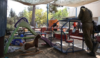 A kindergarten in southern Israel where a mortar fell on May 29, 2018.