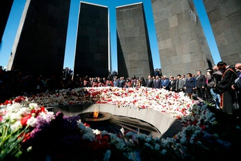 A memorial to victims of the Armenian genocide in Yerevan, Armenia, April 24, 2018.