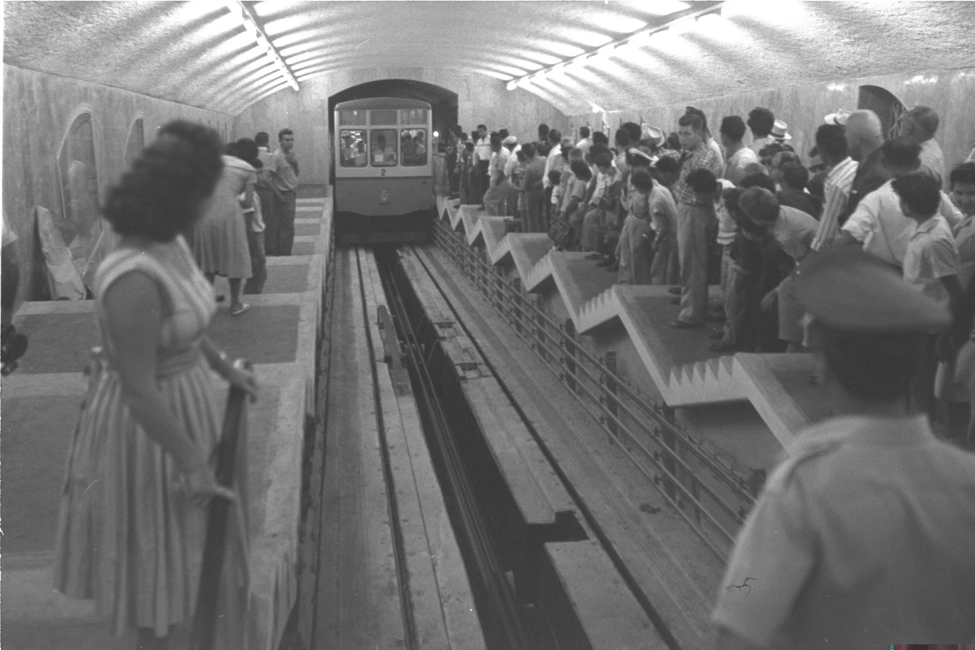 The Carmelit underground subway in Haifa, the first in the country, Oct. 6, 1959.
