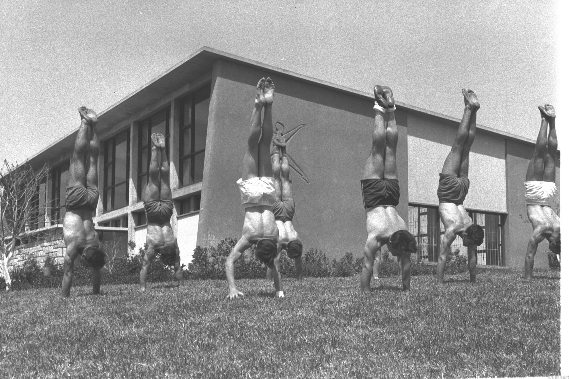 Outdoor training at the Wingate Physical Education Institute in Netanya, 1959.