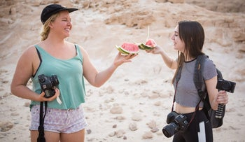 FILE PHOTO: Millennial tourists in the Negev desert in Israel