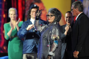 """Roseanne Barr on stage at the Comedy Central """"Roast of Roseanne"""" at the Hollywood Palladium in Los Angeles. Aug. 4, 2012"""