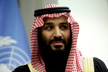 Saudi Crown Prince Mohammed bin Salman as he's being greeted by the French prime minister in Paris, April 9, 2018.