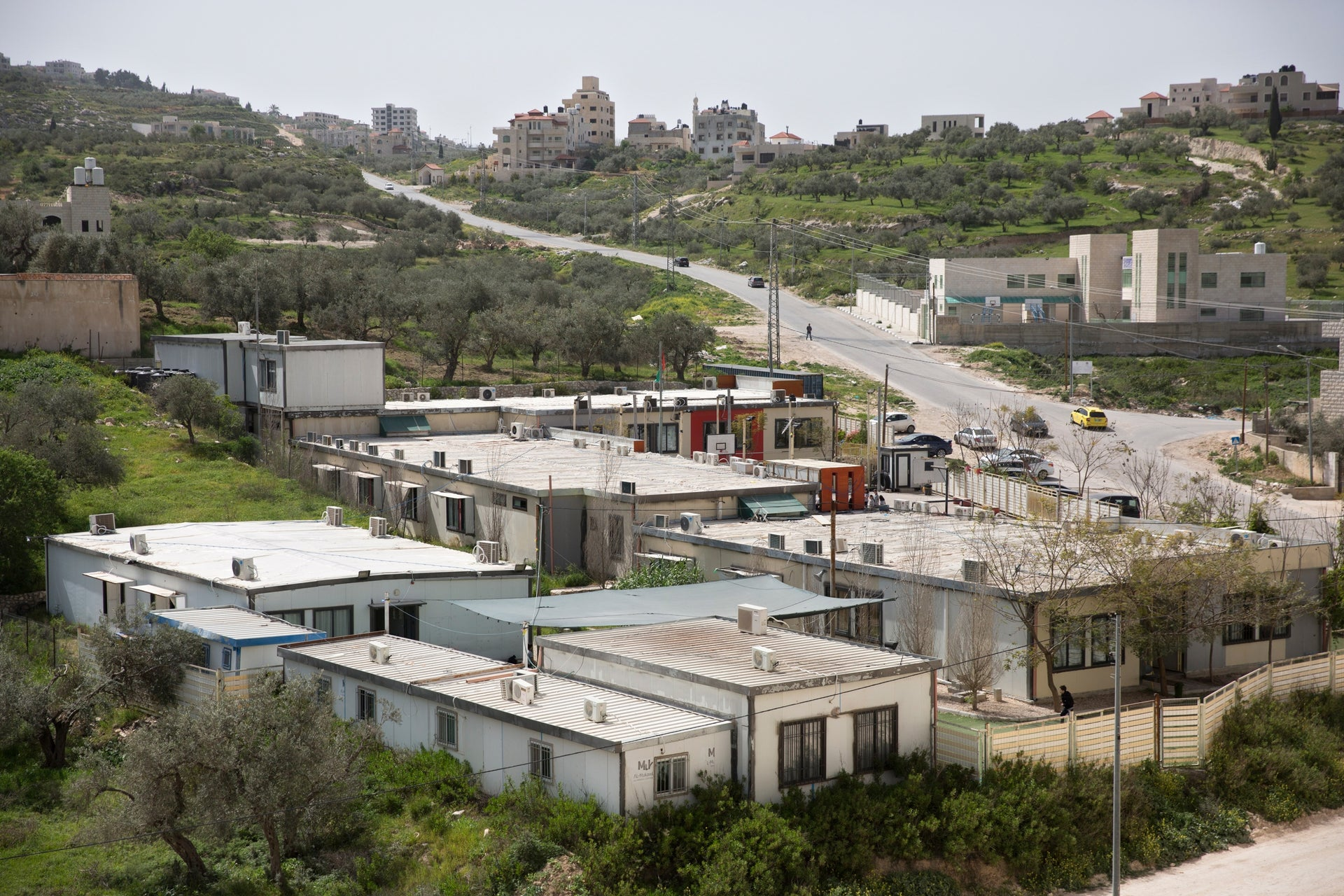 The caravan complex that has housed the school for the past four years in Zawata, west of Nablus.