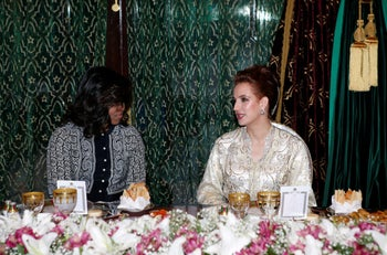 Michelle Obama and Princess Lalla Salma of Morocco in Marrakech in 2016.