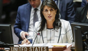 NEW YORK, NY - MAY 30: United States Ambassador to the United Nations Nikki Haley speaks during a UN Security Council emergency session on Israel-Gaza conflict at United Nations headquarter on May 30, 2018 in New York City. Palestinian militants fired rockets and mortar shells at southern Israel on Tuesday night, while Israel hit targets on the Gaza Strip with their fighter jets.   Eduardo Munoz Alvarez/Getty Images/AFP == FOR NEWSPAPERS, INTERNET, TELCOS & TELEVISION USE ONLY ==