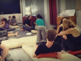 A sex workshop at the home of 'sex mediator' Shahar Berlowitz, May 2018.