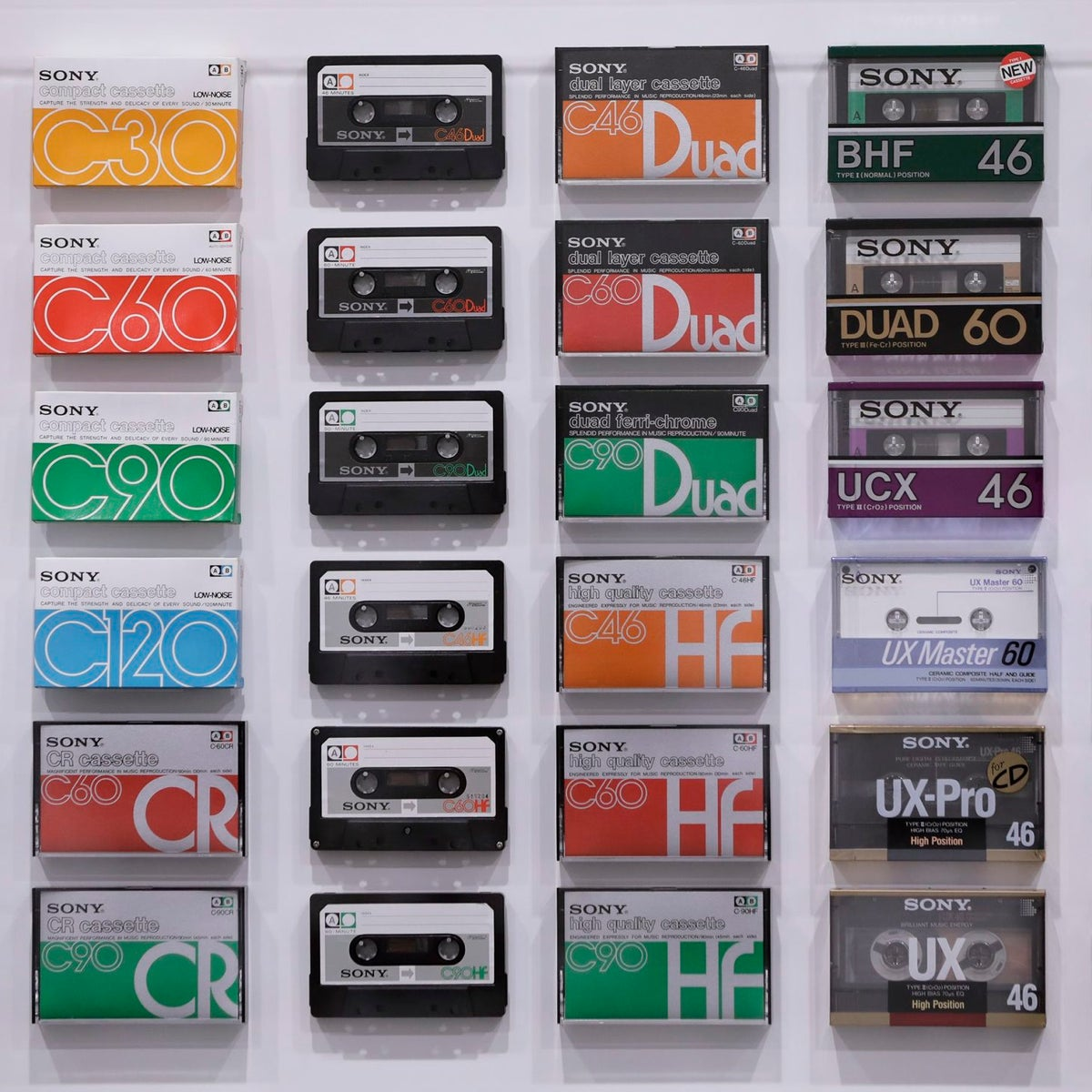"""Various Sony Corp. cassette tapes are displayed at the """"It's a Sony"""" exhibition in Tokyo, Japan, on Nov. 12, 2016."""