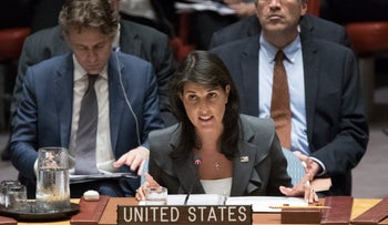 Nikki Haley speaks during a Security Council meeting on the situation between the Israelis and the Palestinians, June 1, 2018 at United Nations headquarters.