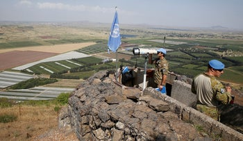 UN force on the Israeli-Syrian border, June 2018