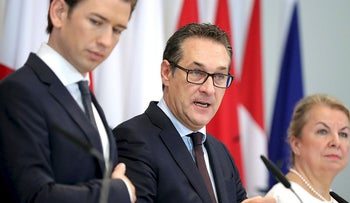 Austrian Chancellor Sebastian Kurz, Vice Chancellor Heinz-Christian Strache and Social Minister Beate Hartinger-Klein attend a news conference during the second day of a cabinet meeting in Mauerbach, Austria, May 28, 2018