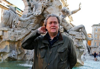 U.S. President Donald Trump's former chief strategist Steve Bannon poses in Piazza Navona in Rome, Italy. March 2, 2018