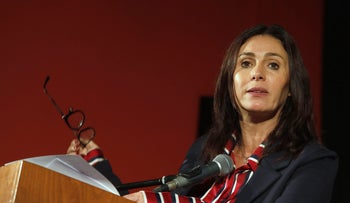Regev in a conference in Sderot, March 2018