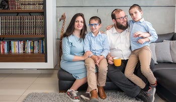 The Katz family in Jerusalem, who favor the teaching of secular core subjects in Haredi schools, May 22, 2018.