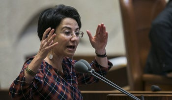 MK Haneen Zoabi (Joint List) discusses a bill in the Knesset, Jerusalem, March 30, 2018.