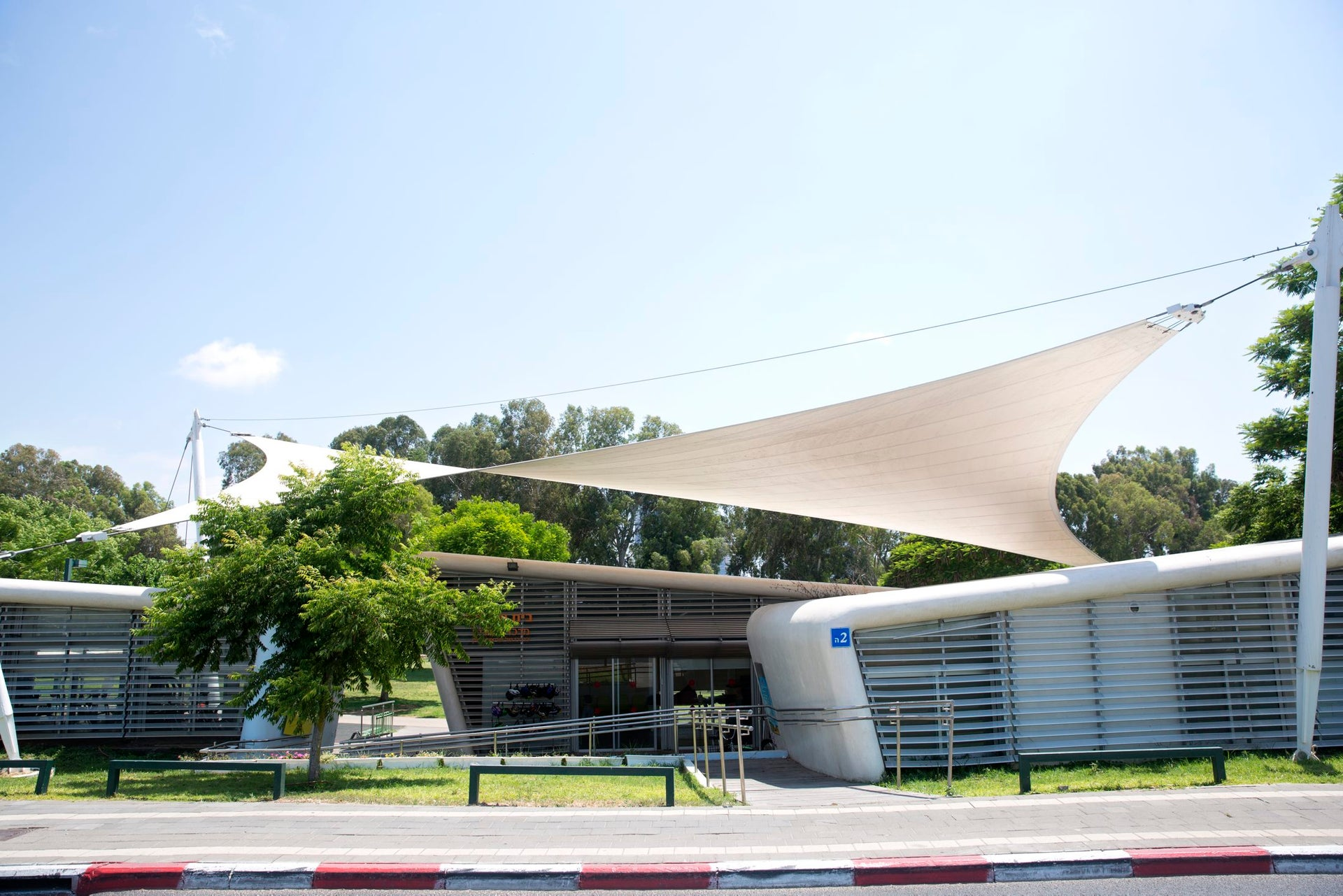 The Etgarim Center in Tel Aviv's Yarkon Park. Only built in 2013, the NTA wants to demolish it to make way for the Green Line serving north Tel Aviv.