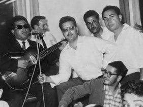 Jo Amar, middle, and his players during a concert in the 1950's.
