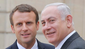 French President Emmanuel Macron and Prime Minister Benjamin Netanyahu in Paris, July 16, 2017.