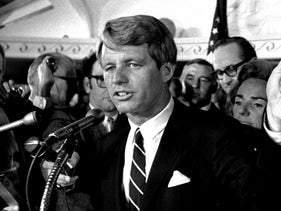 This June 5, 1968 file photo shows Sen. Robert F. Kennedy speaking at the Ambassador Hotel, Los Angeles, following his victory in the previous day's California primary election.