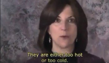 A screenshot of the Aish.com video in which Lori Palatnik said women were much bigger complainers and blamers than men.