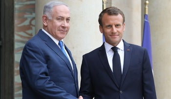 Netanyahu and Macron at the Elysee Palace in Paris on June 5, 2018.