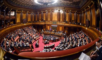 Address by Italy's newly sworn-in prime minister to senators as part of a debate ahead of a confidence vote in the Italian Senate in Rome on June 5, 2018.