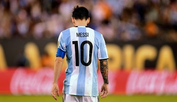 Lionel Messi playing for Argentina during the Copa America Centenario final in New Jersey, June 2016.
