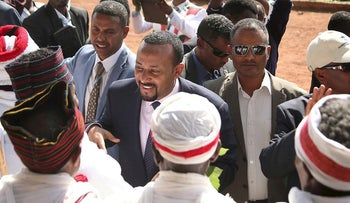Ethiopia's Prime Minister Abiy Ahmed arrives for a rally during his visit to Ambo in the Oromiya region, Ethiopia April 11, 2018