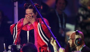 Netta Barzilai reacts as she wins the Eurovision Song Contest in Lisbon, May 12, 2018.