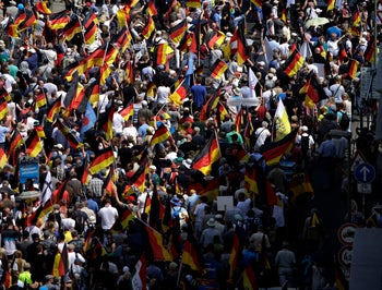Supporters of the far right anti-immigrant Alternative for Germany (AfD) march in Berlin, Germany. May 27, 2018