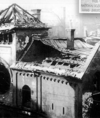 The previous Ohel Ya'aqov synagogue in Munich after its destruction in June 1938 on the orders of Adolf Hitler
