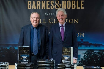 """James Patterson and Bill Clinton at a book promotion of """"The President is Missing"""" in New York, June 5, 2018."""