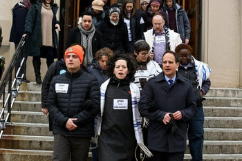 """""""Jews for Dreamers,"""" including Rabbi Jonah Pesner, front right, protesting to keep DACA in effect, at the Russell Senate Office Building in Washington, January 2018."""