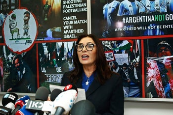 Israeli Culture and Sport Minister Miri Regev speaks during a press conference following the cancellation of the game between the Israeli and Argentina. June 6, 2018.