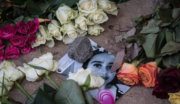 A picture of Susanna Maria Feldman at the site where the 14-year-old girl has been allegedly raped and murdered by an Iraqi asylum seeker in Wiesbaden, Germany on June 8, 2018.
