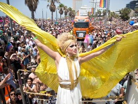 People march at the 2018 Tel Aviv Gay Pride Parade, Friday, June 9, 2018