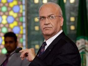 Palestinian negotiator Saeb Erekat speaking during a press conference in Cairo, Egypt.