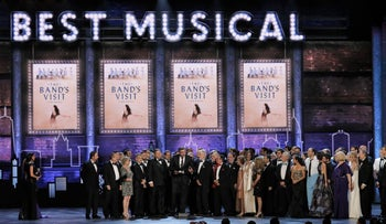 """The cast and producers of """"The Band's Visit"""" accept the award for Best Musical, New York, U.S., June 10, 2018"""