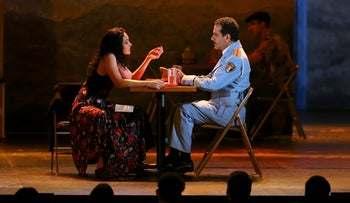 "Katrina Lenk as Dina and Tony Shalhoub as Tawfeq, performing a song from ""The Band's Visit"" during the Tony Awards, June 10, 2018."