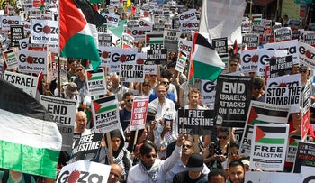 Demonstrators protest outside the Israeli Embassy in west London during the 2014 Gaza - Israel war. July 26, 2014