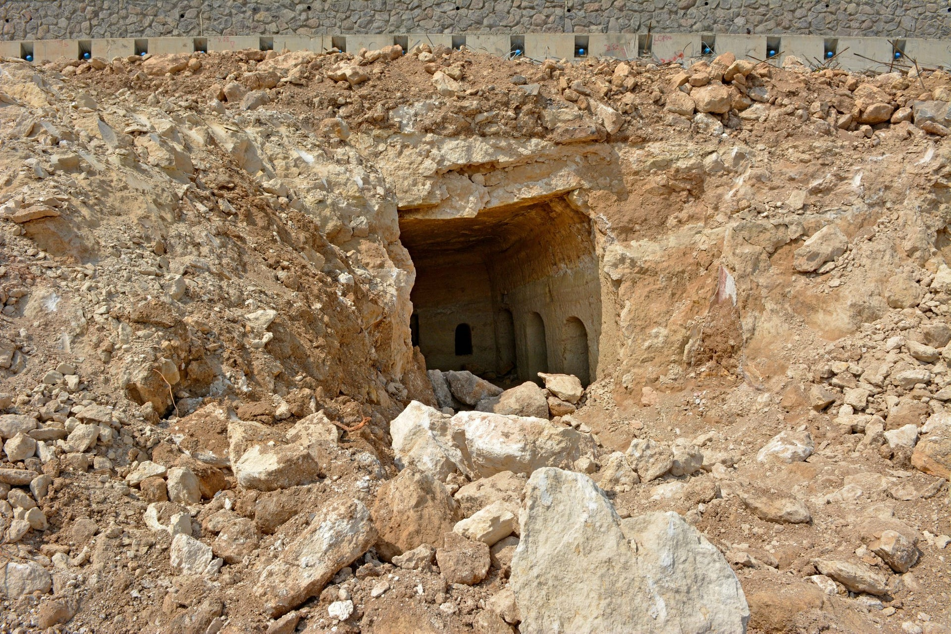 And there it was: Jewish catacomb found in Tiberias. Picture shows the entrance serendipitously found by a bulldozer.