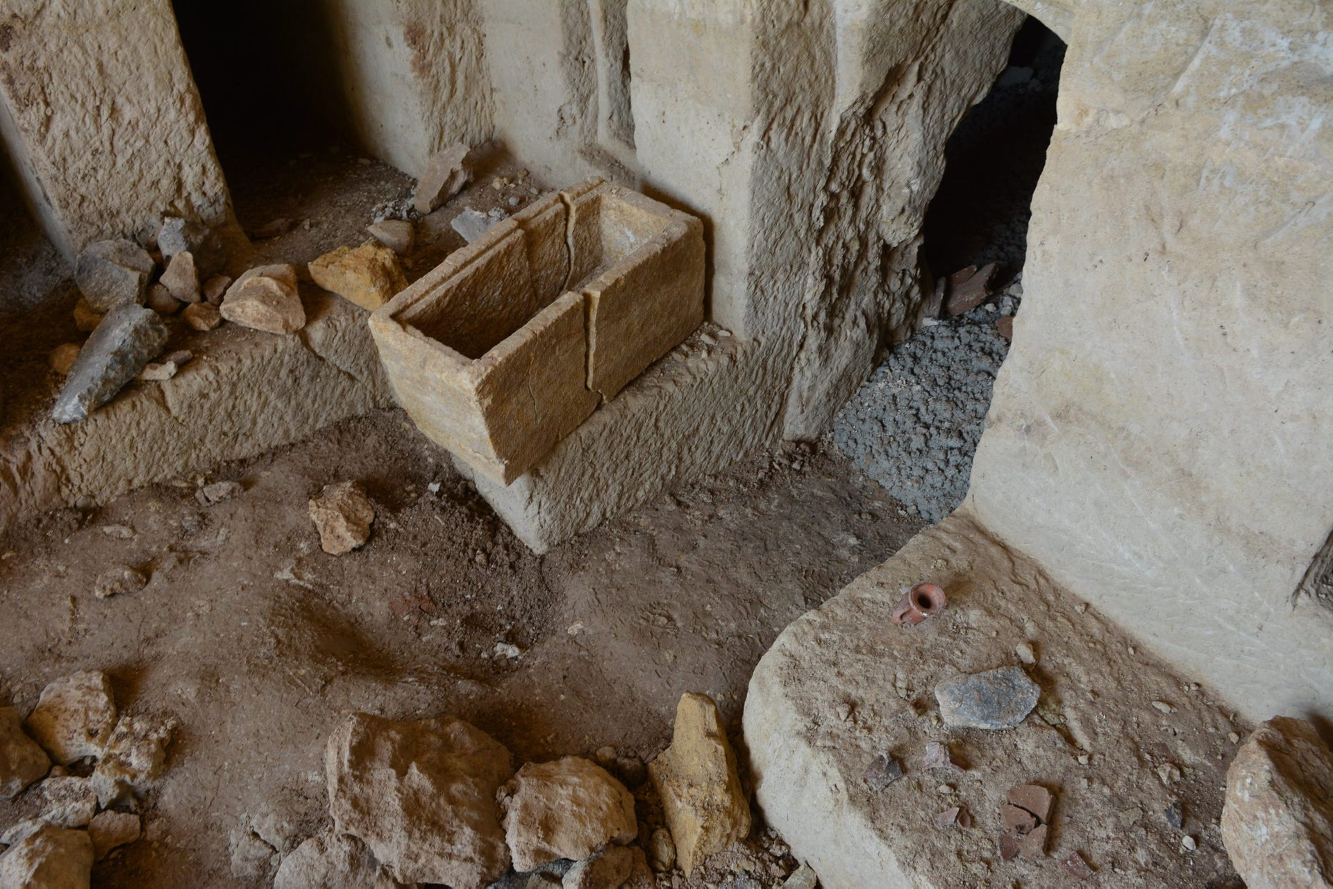 Ossuary in the 2,000-year old burial cave, Tiberias