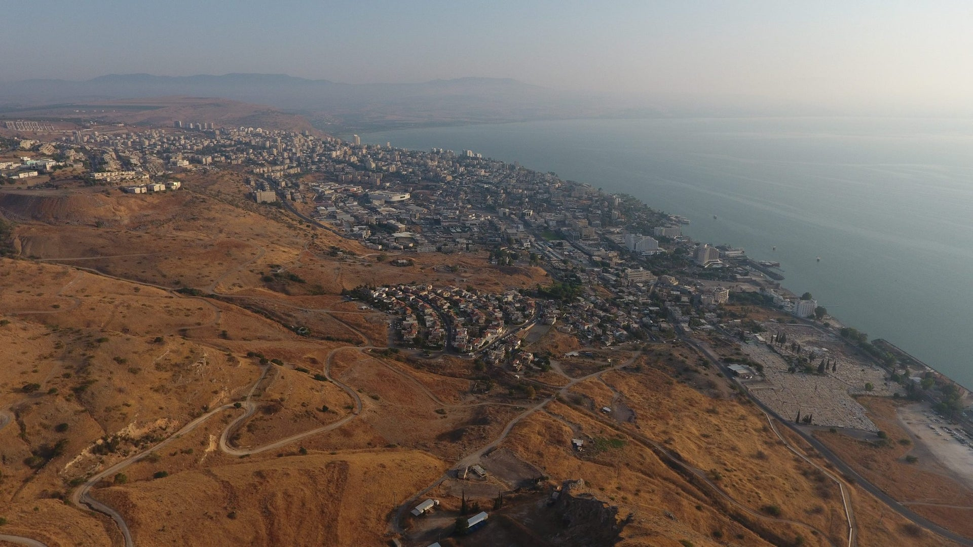 Aerial view of the modern city of Tiberias, built on the ruins of the polis founded in 18 C.E. by Herod Antipas on the shores of the Sea of Galilee