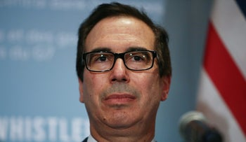 United States Secretary of the Treasury Steven Mnuchin holds a news conference after the G7 Finance Ministers Summit in Whistler, British Columbia, Canada, June 2, 2018.