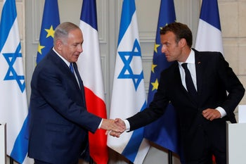 Netanyahu and Macron meet for talks on Iran, 2018.